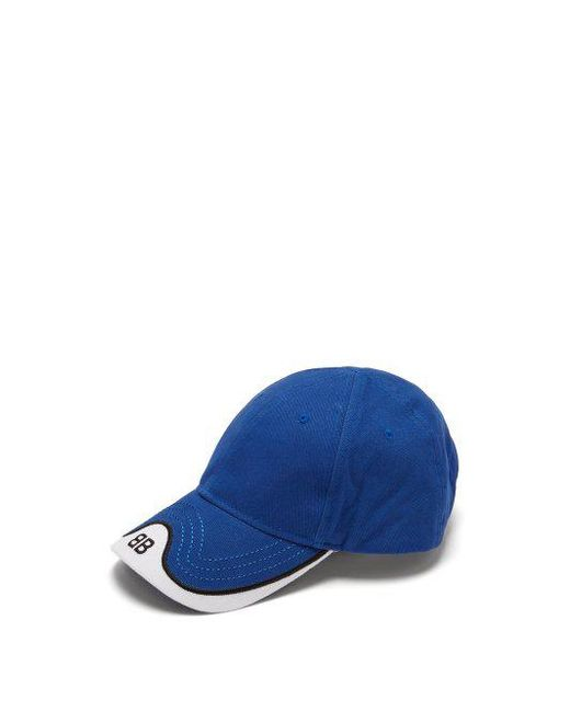 70994a78972 Balenciaga - Blue Logo Embroidered Cotton Cap for Men - Lyst ...