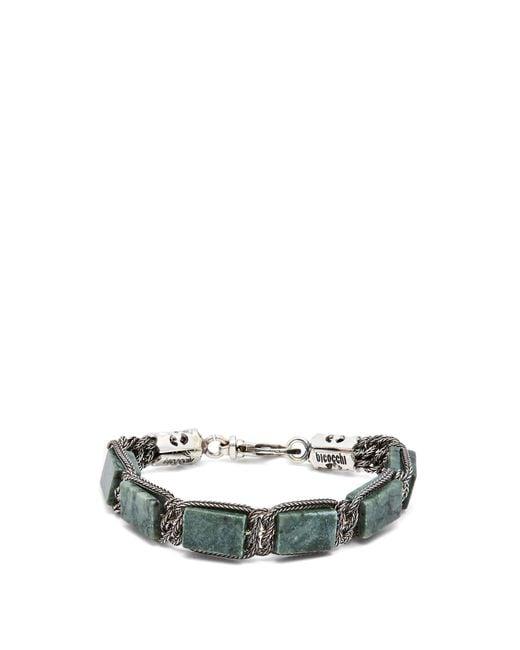 Emanuele Bicocchi - Metallic Green Marble & Sterling Silver Bracelet for Men - Lyst