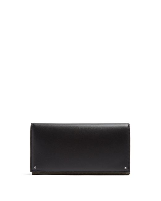 Valentino | Black Micro-rockstud Embellished Bi-fold Leather Wallet for Men | Lyst