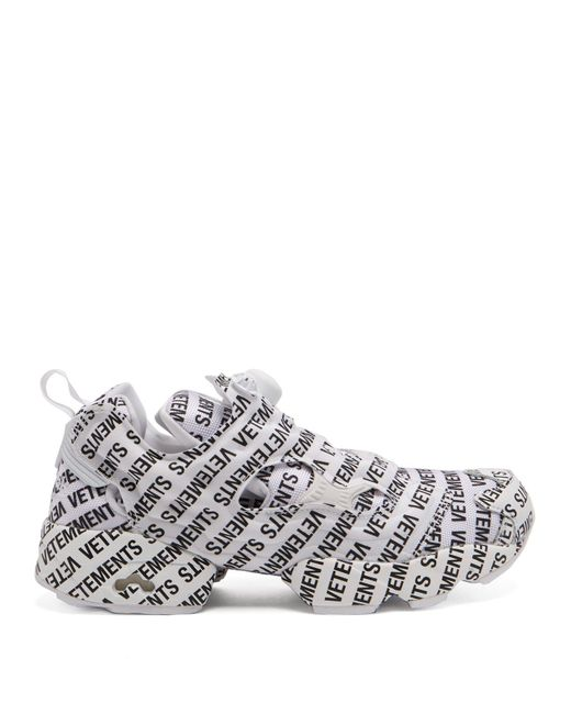 Vetements - White X Reebok Instapump Fury Low-top Canvas Trainers - Lyst