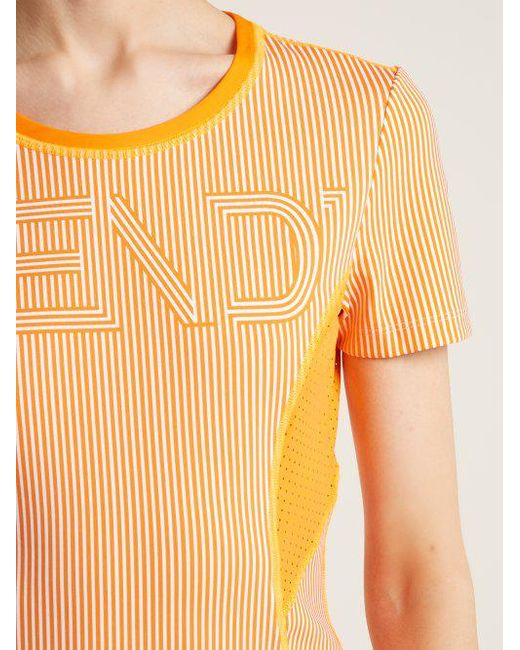 Logo-print striped performance T-shirt Fendi Cheap Big Discount To Buy Really Cheap Online Discount Latest Online nveOAFI