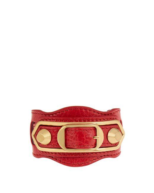 Balenciaga | Red Classic Metallic Edge Leather Bracelet | Lyst