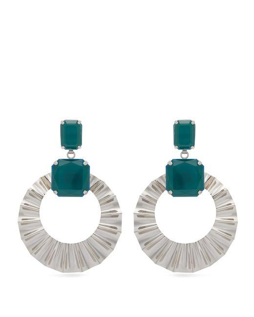 Isabel Marant - Green Stone Hoop Drop Earrings - Lyst