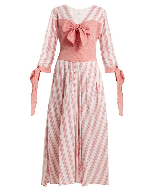 Gül Hürgel Pink Bow Detail Striped Linen Blend Dress