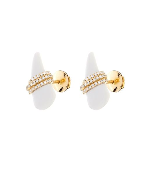 Elise Dray | Yellow Diamond, White-agate & Gold Mini-horn Earrings | Lyst