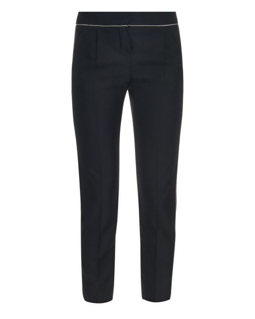 Balenciaga | Black Chain-Trimmed Cropped Trousers | Lyst