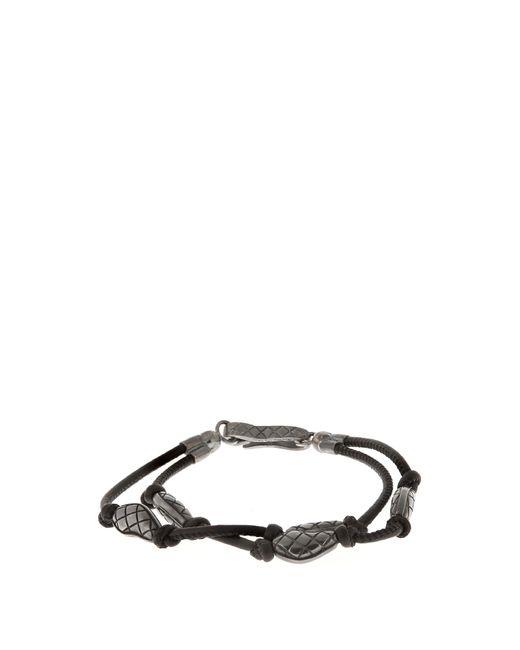 Bottega Veneta | Black Oxidised-silver Embellished Leather Bracelet for Men | Lyst