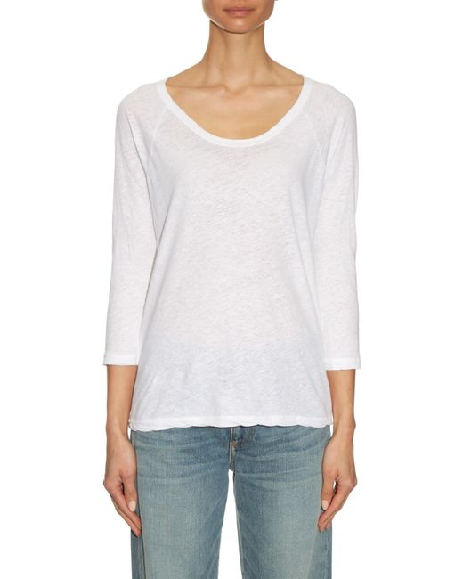 James perse raglan sleeved linen and cotton blend t shirt for James perse t shirts sale