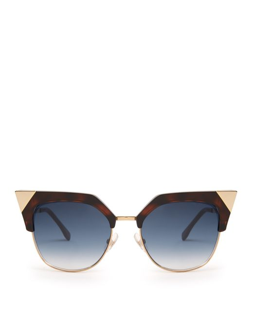 Fendi Cat-eye Half-frame Acetate Sunglasses in Beige ...