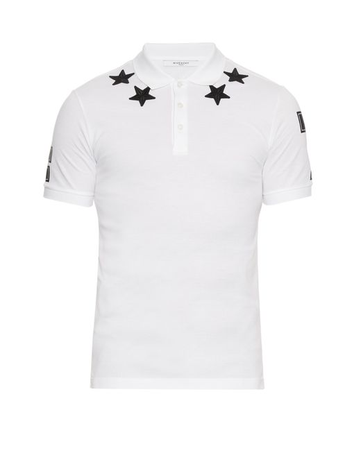 Givenchy Cuban Fit Star Appliqu Polo Shirt In White For