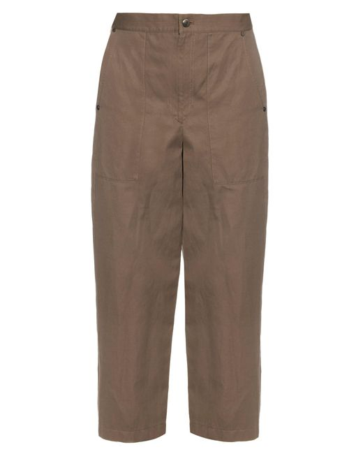 Helmut Lang | Brown High-rise Wide-leg Cotton And Linen-blend Trousers | Lyst