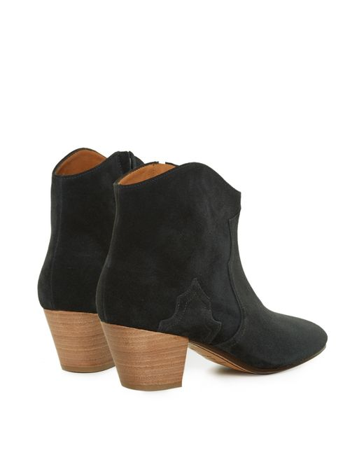 marant 201 toile dicker suede ankle boots in black lyst