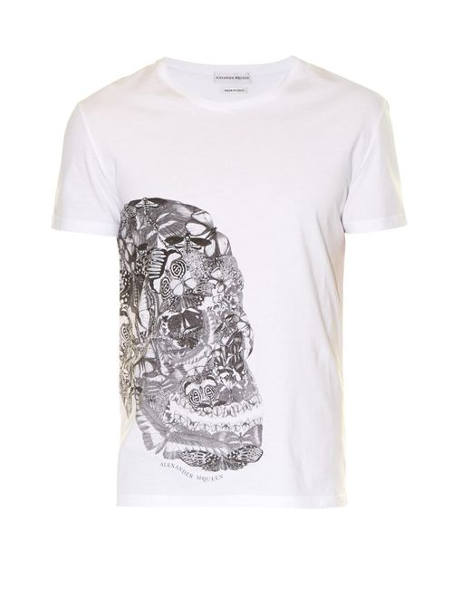 Alexander McQueen | Black Butterfly Skull-print Jersey T-shirt for Men | Lyst