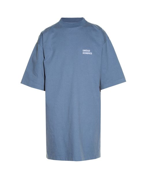 Vetements | Blue Oversized Cotton-jersey T-shirt Dress | Lyst