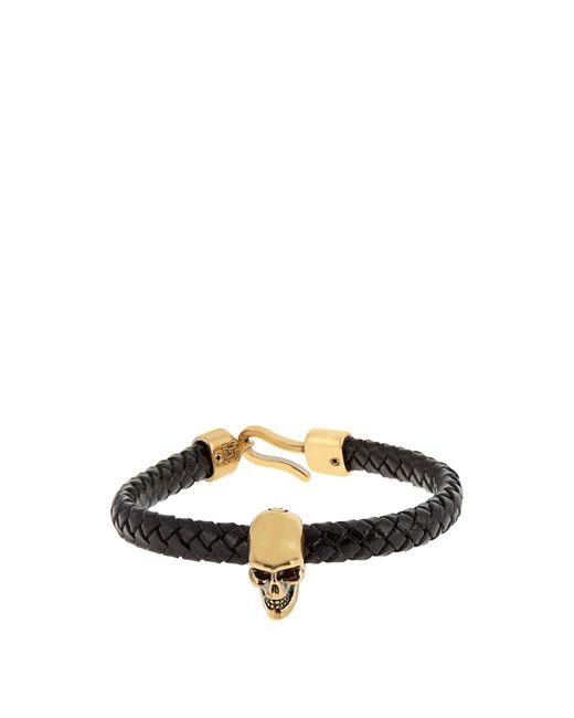 Alexander McQueen | Multicolor Skull And Woven-leather Bracelet for Men | Lyst
