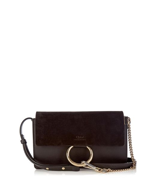 chlo faye mini leather and suede cross body bag in black lyst. Black Bedroom Furniture Sets. Home Design Ideas