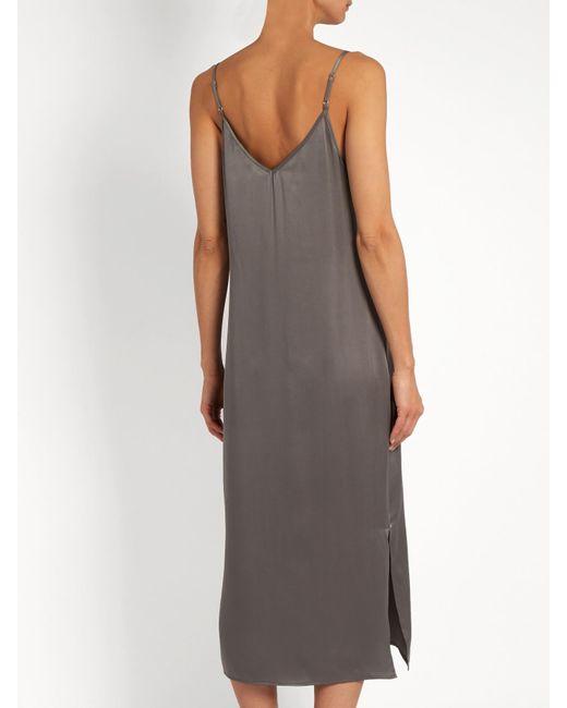 Equipment Anika Silk Satin Slip Dress In Gray Lyst