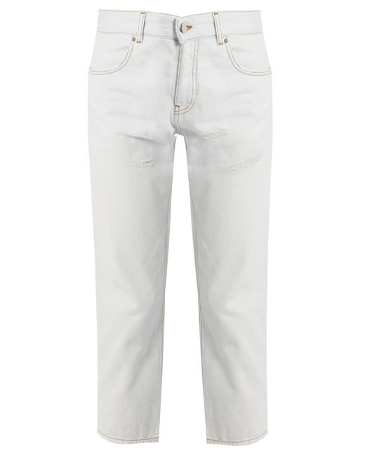 MM6 by Maison Martin Margiela | Multicolor Distressed Mid-rise Straight-leg Jeans | Lyst