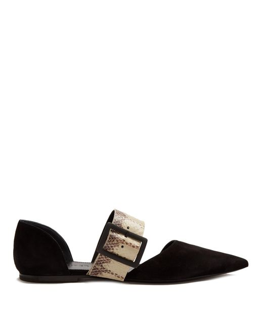 Jil Sander | Black Point-toe Suede And Snakeskin Flats | Lyst