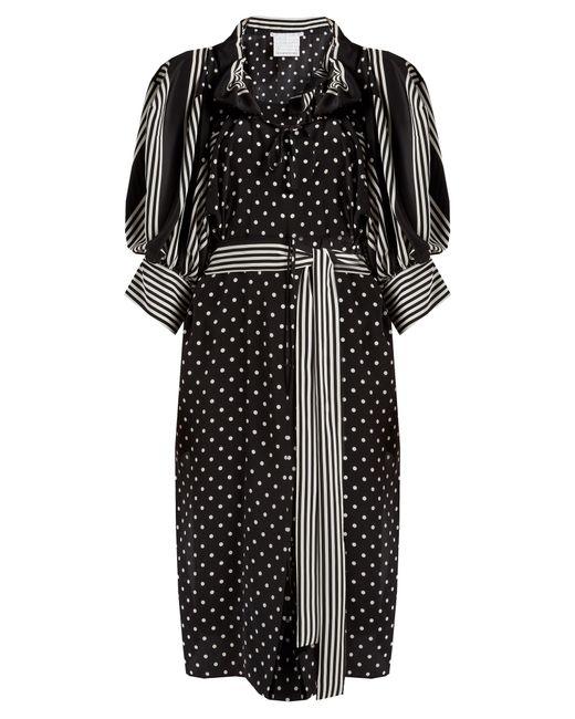 Stella McCartney   Black Polka-dot And Stripe Print Crepe Dress   Lyst