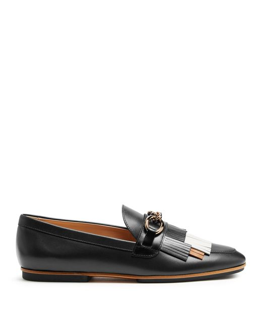 Tod's | Black Gomma Fringed Leather Loafers | Lyst