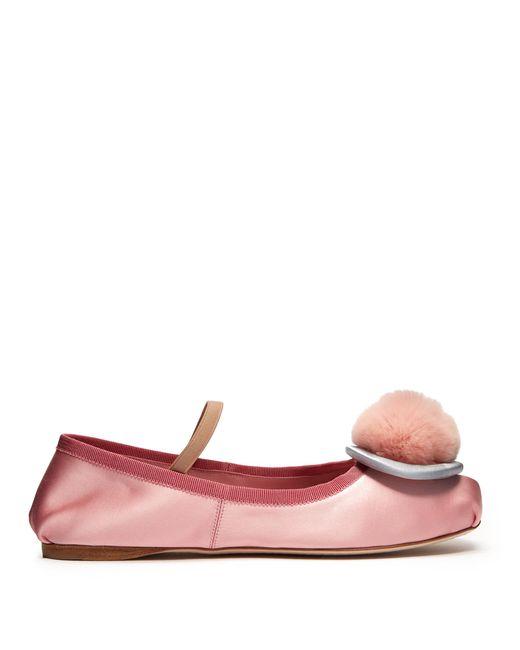Miu Miu   Multicolor Fur-pompom Satin Ballet Flats   Lyst