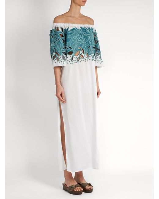 Mara hoffman leaf embroidered off the shoulder dress in