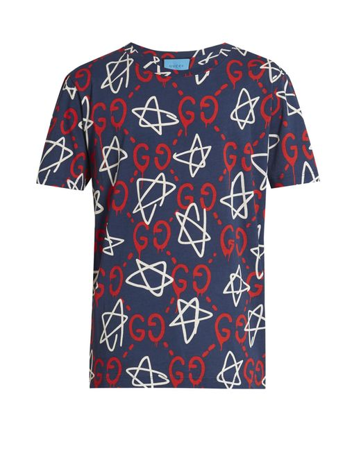 Gucci Ghost-print Crew-neck T-shirt in Blue for Men