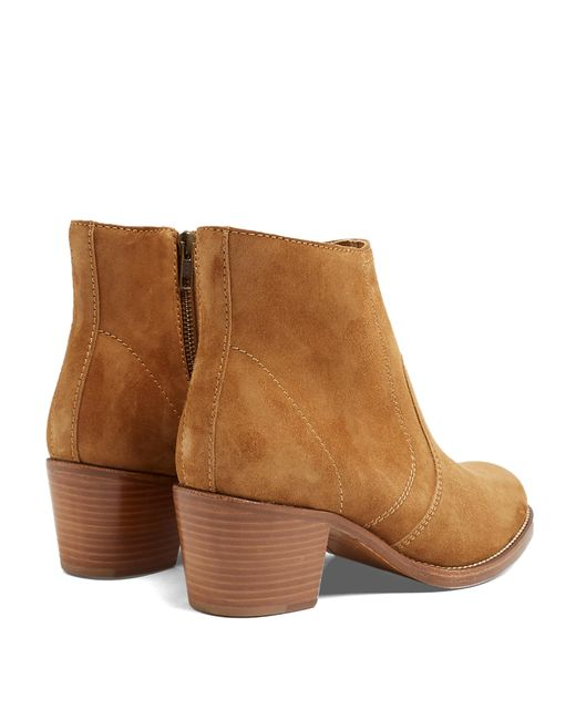 a p c cowboy suede ankle boots in brown lyst