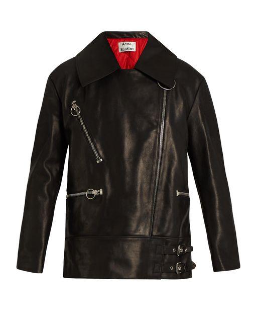 Acne | Black Morely Oversized Leather Jacket for Men | Lyst