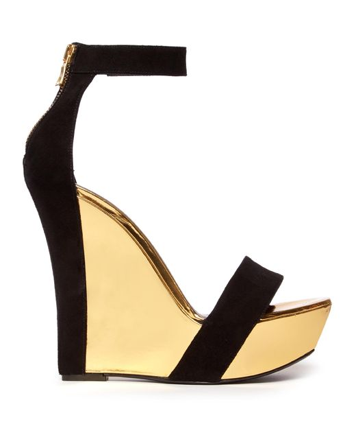 Balmain | Black Bi-colour Leather And Suede Wedge Sandals | Lyst