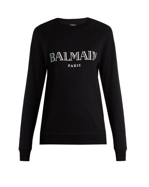 Balmain | Black Logo-print Jersey Sweatshirt | Lyst