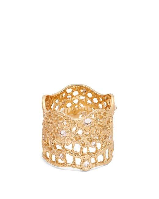 Aurelie Bidermann | Metallic Diamond, Aquamarine & Yellow-gold Ring | Lyst