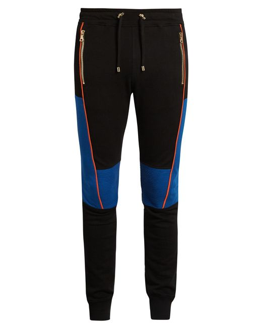 Balmain   Black Biker Stitched-panel Jersey Track Pants for Men   Lyst