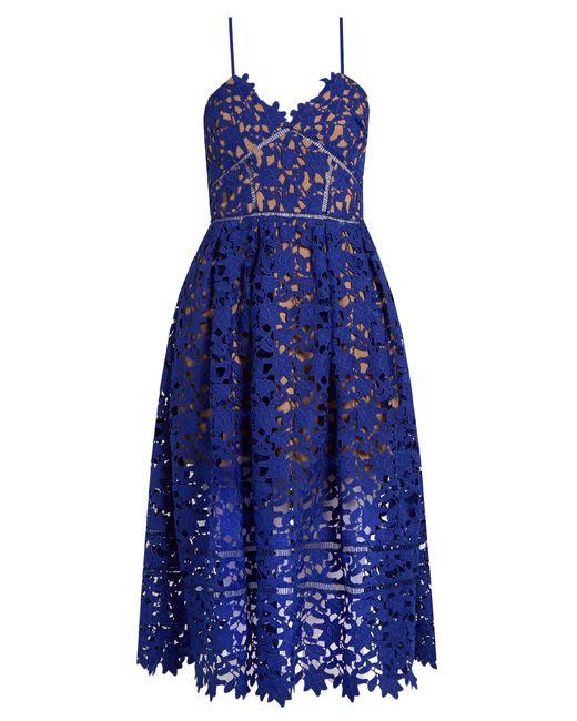 Self Portrait Azaelea Lace Midi Dress In Blue Lyst