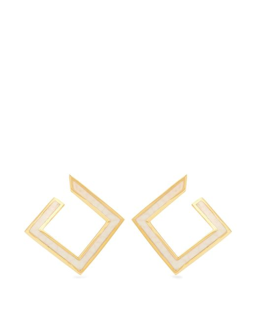 Azlee | Metallic White Light Enamel & Yellow-gold Earrings | Lyst