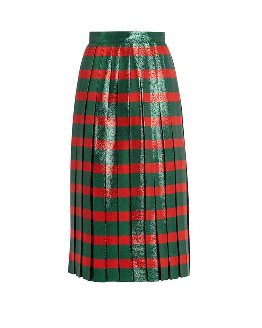 gucci striped pleated lam 233 skirt in green lyst