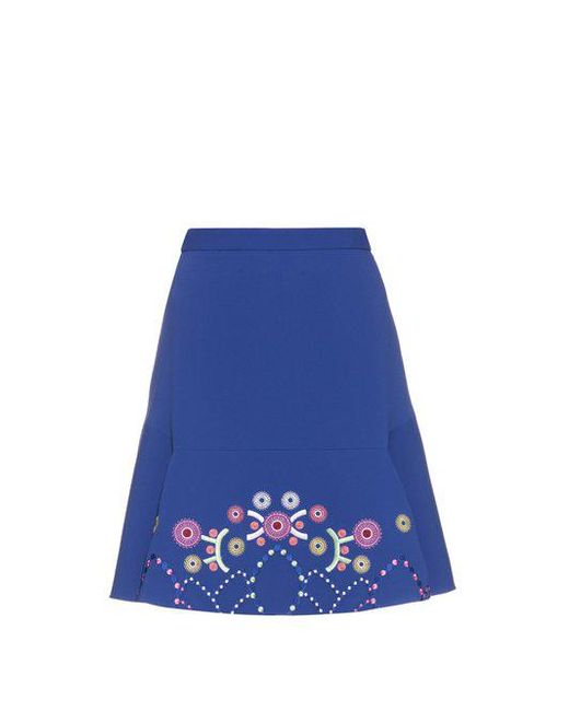 Peter Pilotto - Blue Geometric-embroidered Fluted Cady Mini Skirt - Lyst