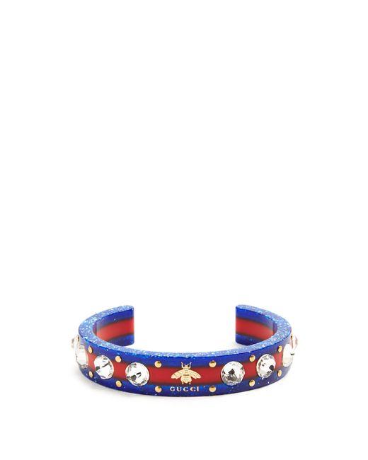 Gucci | Multicolor Web Crystal-embellished Plexiglas Cuff | Lyst
