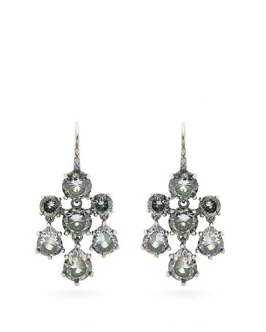 Bottega Veneta | Green Cubic-zirconia And Silver Chandelier Earrings | Lyst