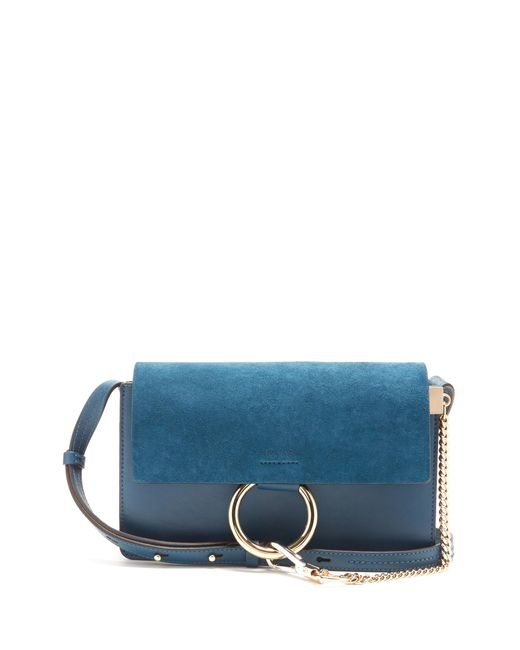 Chloé | Blue Faye Small Suede And Leather Shoulder Bag | Lyst
