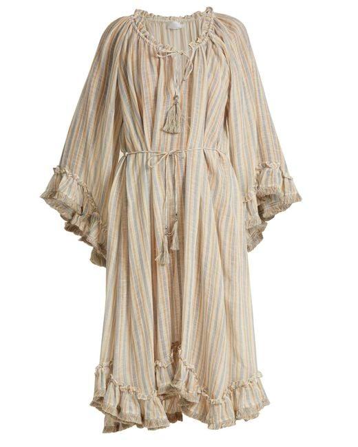 Zimmermann | Natural Meridian Striped Linen And Cotton-blend Dress | Lyst