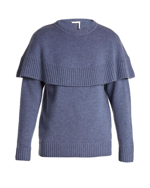 Chloé | Blue Iconic Cape-overlay Cashmere Sweater | Lyst