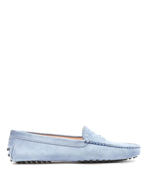 Tod's | Blue Gommini Suede Loafers | Lyst