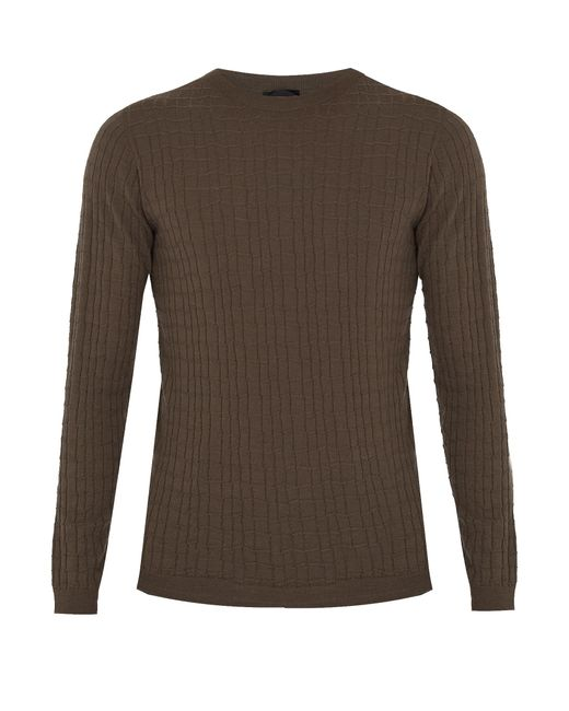 Giorgio Armani | Natural Crew-neck Wool-blend Sweater for Men | Lyst