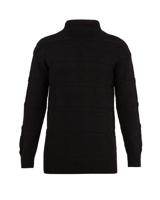 Prada   Black High-neck Wool Sweater for Men   Lyst