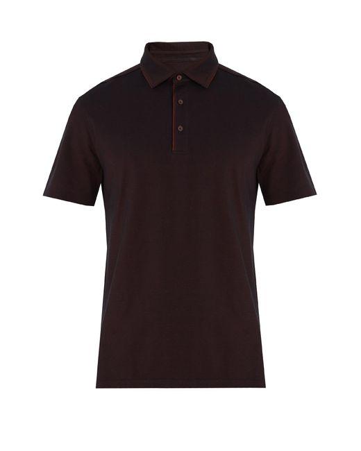 Ermenegildo Zegna | Black Piped-trim Cotton-piqué Polo Shirt for Men | Lyst