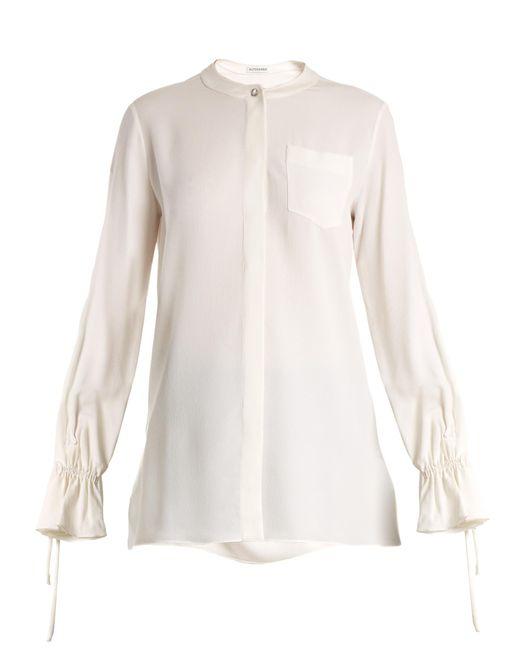 Altuzarra   White Christina Fluted-cuff Silk-blend Crepe Blouse   Lyst