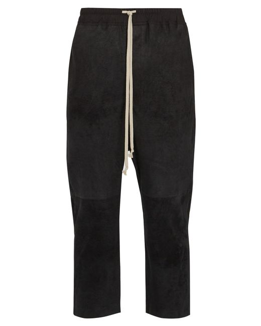 Rick Owens | Black Dropped-crotch Leather Cropped Trousers for Men | Lyst