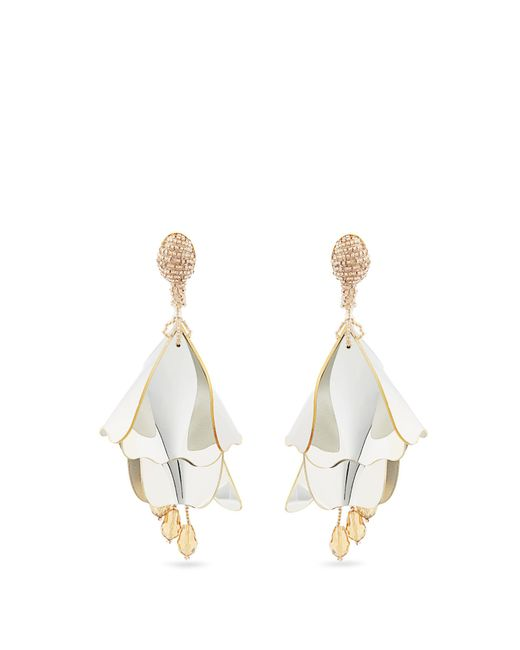 Oscar de la Renta | Metallic Impatiens Clip-on Earrings | Lyst